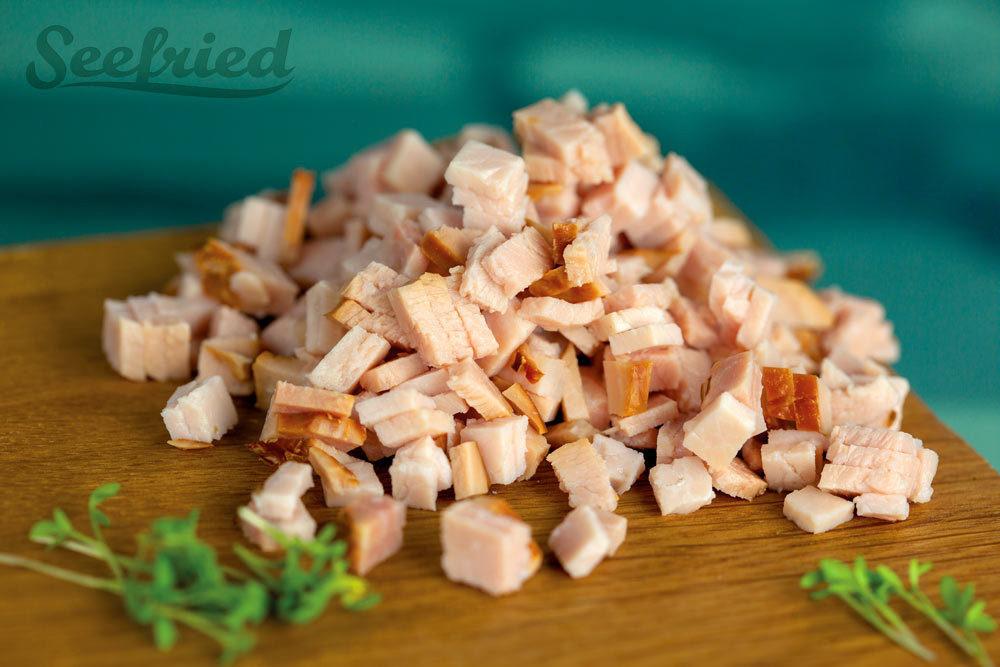 Gekochter Schinken - küchenfertig in Würfel geschnitten