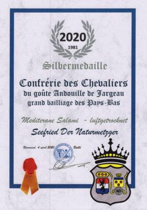 Silbermedaille für unsere mediterrane Salami