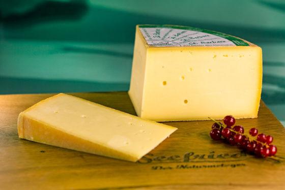 Ein Stück Käse St. Barbara vom Laib abgeschnitten auf Holzbrett