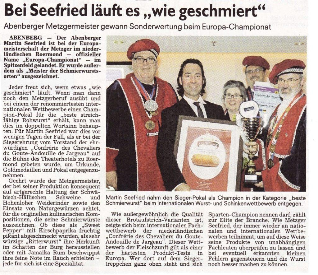 Zeitungsartikel über Europameisterschaft der Metzger mit Martin Seefried