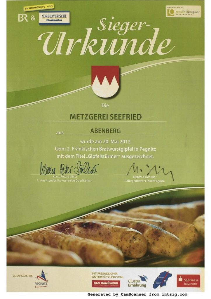 Urkunde 2. Fränkischer Bratwurstgipfel in Pegnitz 2012 mit dem Titel Gipfelstürmer