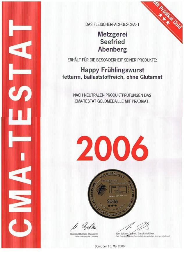 CMA-Testat Goldmedaille mit Prädikat - Happy Frühlingswurst