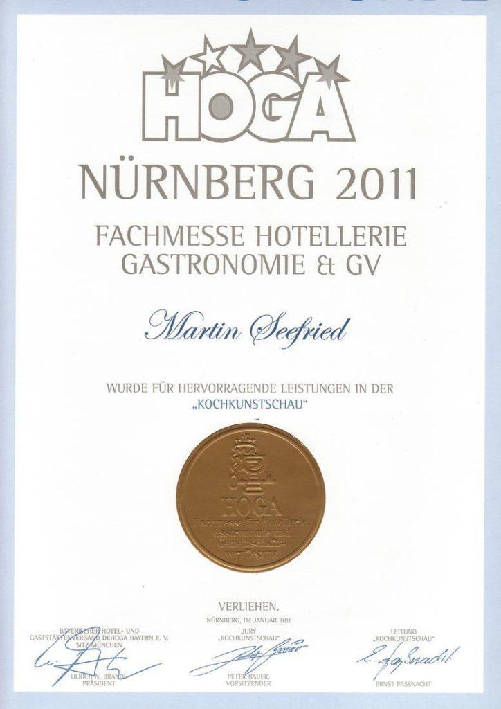 Urkunde der HOGA Nürnberg für hervorragende Leistungen in der Kochkunstschau