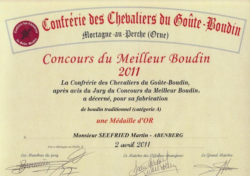 Urkunde Weißwurst Montagne au Perche