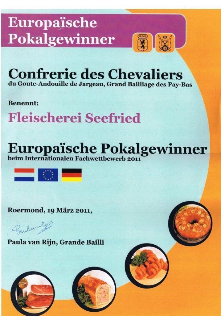 Urkunde Europäische Pokalgewinner Internationaler Fachwettbewerb 2011