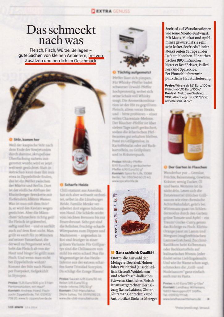 Die Metzgerei Seefried wird in der Zeitschrift Stern erwähnt