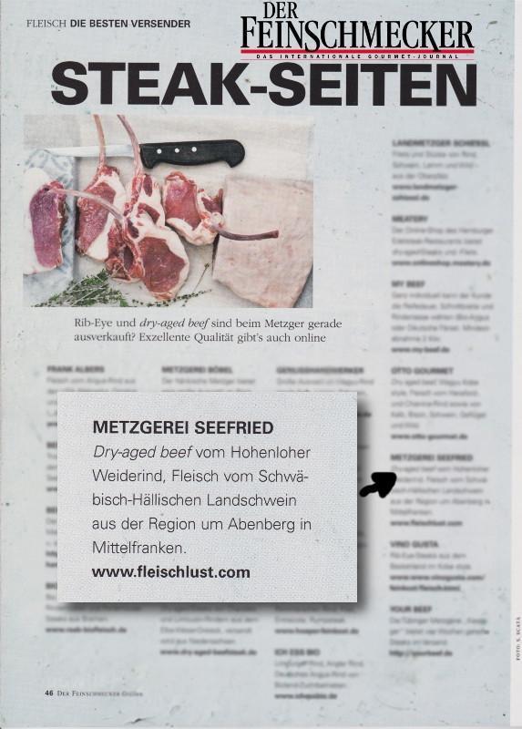 Erwähnung Dry aged Beef vom Naturmetzger Seefried in der Zeitschrift der Feinschmecker