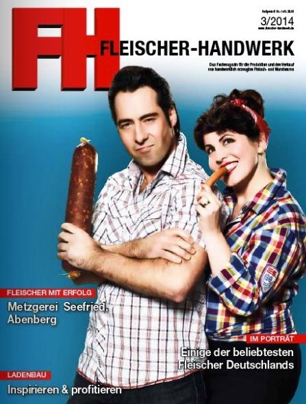 Cover der Zeitschrift Fleischer-Handwerk 2014 mit Conny und Martin Seefried
