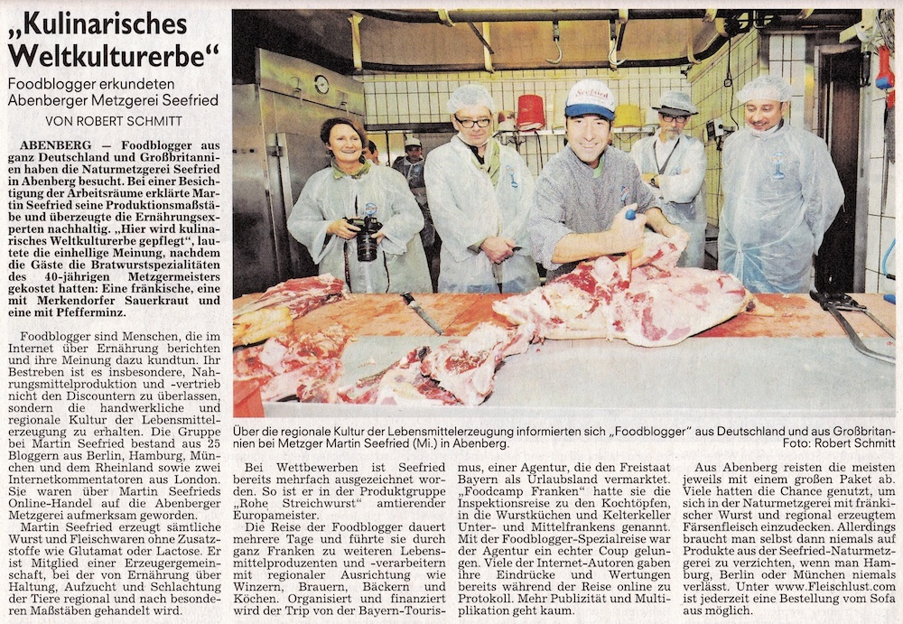Zeitungsartikel: Blick in die Wurstküche FoodCampFranken