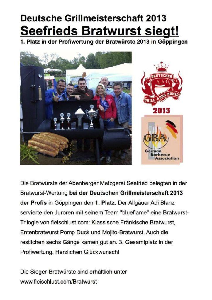 Bericht über die Deutsche Grillmeisterschaft 2013 mit Metzgerei Seefried am 1. Platz