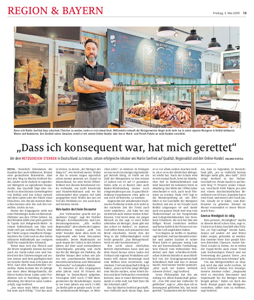 Zeitungsbericht vom Metzgersterben in NN 2019 Mai