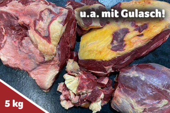 Wagyu-Rind 5 Kilo Vorteilspaket u.a. mit Gulasch
